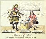 Missions of the 17th Century: The Missionary Dragoon forcing a Huguenot to Sign his Conversion to Catholicism, exact copy after an original drawing of 1686 Poster Art Print by French School