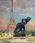 The Eiffel Tower and the Elephant by Fremiet Poster Art Print by Jules Ernest Renoux