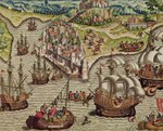 Naval Combat, illustration from 'Americae Tertia Pars...', 1592 Poster Art Print by French School