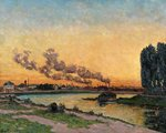 Setting Sun at Ivry, c.1872-73 Poster Art Print by Claude Monet
