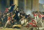 Scene of the 1830 Revolution at the Louvre Poster Art Print by Lesueur Brothers