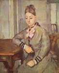 Madame Cezanne Leaning on a Table, 1873-77 Poster Art Print by Paul Cezanne