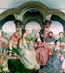The Holy Kinship, or the Altarpiece of St. Anne, detail of central panel, 1509 Poster Art Print by Peter Miller