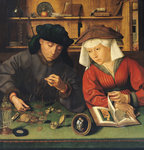 The Money Lender and his Wife, 1514 Poster Art Print by German School