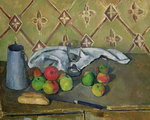 Fruit, Serviette and Milk Jug, c.1879-82 Poster Art Print by Paul Cezanne