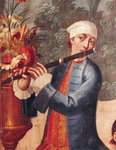A Flautist, detail from a screen