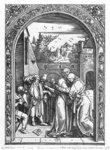 The meeting of St. Anne and St. Joachim at the Golden Gate, from the 'Life of the Virgin' series, 1504 Poster Art Print by Mary Stuart