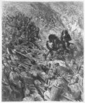 Battle scene, illustration from 'Orlando Furioso' by Ludovico Ariosto Poster Art Print by Gustave Dore