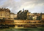Hotel de Ville and embankment, Paris, 1828 Poster Art Print by Jean-Baptiste Oudry