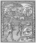 October, sowing, ploughing and threshing, Libra, illustration from the 'Almanach des Bergers', 1491 Poster Art Print by Nicolas Jacques Conte