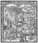 November, killing the pig and harvesting acorns, Scorpio, illustration from the 'Almanach des Bergers', 1491 Poster Art Print by Peter Jackson