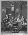 The Gourmet Supper, engraved by Isidore Stanislas Helman Poster Art Print by Jean Francois Gigoux