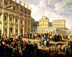 Charles de Bourbon visiting Pope Benedict XIV at St Peter's, Rome, 1745 Poster Art Print by French School