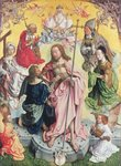 Fine Art Print of Central panel from the St. Thomas Altarpiece, 1501, Christ and Saint Thomas surrounded by St.Helena, Mary Magdalena, St.Jerome and St.Ambrose by Master of St. Bartholemew