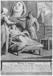 Miraculous healing of a blind woman, Marie Carteri, on the tomb of Deacon Francois de Paris at the parish cemetery Saint-Medard in Paris, engraved by Pieter Yver Poster Art Print by Peter Jackson