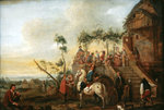 Stop at the inn Poster Art Print by Jean-Baptiste Joseph Pater