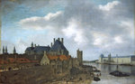 Nevers Hotel and the Louvre Palace, 1637 (oil on wood) by French School - print