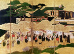 The Arrival of the Portuguese in Japan, detail of the right-hand section of a folding screen, Kano School Poster Art Print by Japanese School