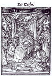 Death and the Emperor, from 'The Dance of Death', engraving by Hans Lutzelburger, c.1538 Poster Art Print by Hans Holbein The Younger