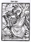 Death and the Abbot, from 'The Dance of Death', engraved by Hans Lutzelburger, c.1538 Poster Art Print by Hans Holbein The Younger