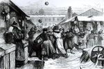 Football in the Jews' Market, St. Petersburg, from the 'Illustrated London News', 1874 Poster Art Print by Adrien Barrere