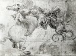 Battle between a Rider and a Dragon, c.1482 Poster Art Print by Leonardo da Vinci