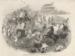 Epsom Races, 'Derby Day': Leaving the Course, from 'The Illustrated London News', 31st May 1845 Poster Art Print by English Photographer