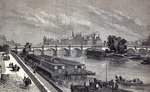 Modern Paris: The Pont Neuf, 1845 (engraving) by French School - print
