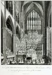 View of the Orchestra and Performers in Westminster Abbey, during the Commemoration of Handel, published by Charles Burney, 1785 Poster Art Print by Judy Joel