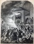 The 'No Popery' rioters burning the prison of Newgate in 1780 Poster Art Print by Pierre-Antoine Demachy