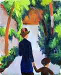 Mother and Child in the Park, 1914 Poster Art Print by August Macke