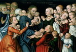 Suffer the Little Children to Come Unto Me, 1538 Poster Art Print by Lucas, the Elder Cranach