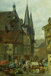 The Marketplace in Wernigerode, 1861 Poster Art Print by Henri Courvoisier-Voisin