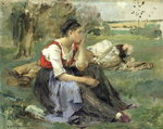 Fine Art Print of Resting Peasants, 1877 by Jules Bastien-Lepage