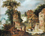 Village landscape Poster Art Print by Jan or Joan Hackaert