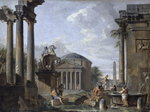 Landscape with Roman Ruins Poster Art Print by Thomas Couture