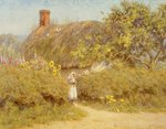 A Surrey cottage Poster Art Print by Arthur Claude Strachan
