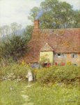 By the Cottage Gate Poster Art Print by Isabel Oakley Naftel