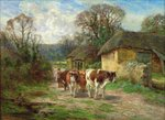 By the Barn Poster Art Print by Charles James Adams