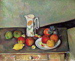 Still life with milkjug and fruit, c.1886-90 Poster Art Print by Paul Cezanne