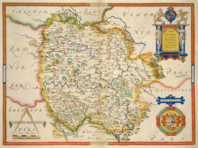 Fine Art Print of Map of Herefordshire by Christopher Saxton