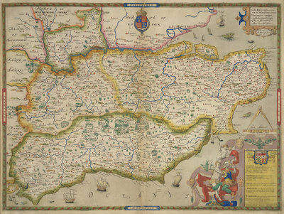 Fine Art Print of Map of Sussex, Kent, Surrey and Middlesex by Christopher Saxton