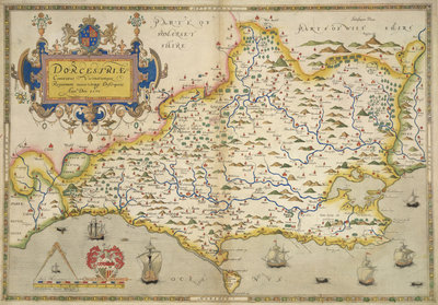 Fine Art Print of Map of Dorset by Christopher Saxton