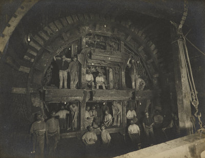 Construction of the London Underground, 1898 by Unknown - print