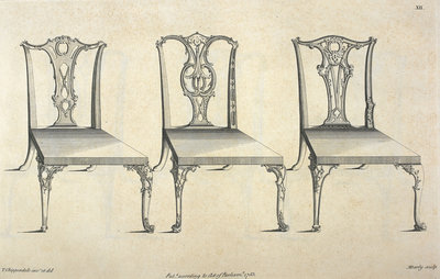 Chippendale chair designs by Thomas Chippendale - print