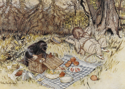 Rat and Mole having a picnic by Arthur Rackham - print