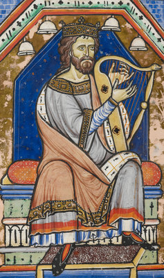 King David playing the harp by Anonymous - print