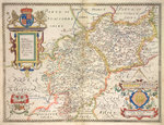 Map of Warwickshire and Leicestershire Poster Art Print by Christopher Saxton