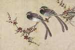 Long-tailed birds on plum tree branch by J Briois - print