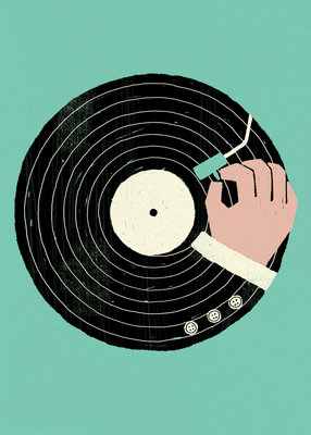 Vinyl in Turquoise by Dale Edwin Murray - print